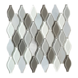 "Euro Glass - Seagull Polar Grey  Unique Shapes Grey Kitchen Glossy & Frosted Glass and Stone - Sheet size:  10 3/4"" x 12""        Tile Size:  Unique Shapes        Tiles per sheet:  39        Tile thickness:  1/4""        Grout Joints:  1/8""        Sheet Mount:  Mesh Backed     Sold by the sheet     -"