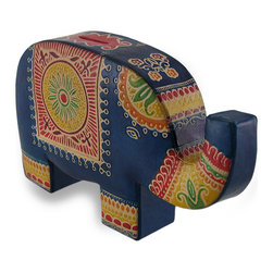 Zeckos - Colorful Elephant Trunk up Embossed Leather Coin Bank Piggy Bank - With an upturned trunk for luck, this elephant is ready for change This charming coin bank is in the fun shape of an elephant, and features a colorful hand-painted finish. Measuring 8 inches (20 cm) long, 4.75 inches (12 cm) tall and 2 inches (5 cm) wide, it's hand-made of sturdy padded fiberboard covered with soft embossed leather. It has a coin slot in the top for change or bills, and easily empties via a metal snap closure at the bottom of the back leg. This bank is a great way to encourage a healthy saving habit, and looks great on any shelf, table, dresser or desk in your home or even at the office. This whimsical coin bank makes a wonderfully useful gift sure to be enjoyed