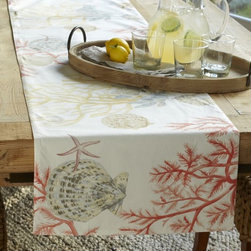 Atlantic Table Runner - I love the soft painterly look of the watercolor coral and shells on this Atlantic table runner.