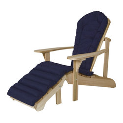 All Things Cedar - Cushion for Adirondack Chair + Ottoman Cushion - (blue) - Our adirondack chair cushions are made with 2 inches of luxurious polyfil covered with a soft-faced cotton canvas. Edges are reinforced and tie downs keep the cushion properly positioned at all times. : DIMENSIONS : 75w x 20d x 2h ---SEAT : 21w x 20d x 2h ---BACK : 33w x 18d x 2h --- OTTOMAN : 22w x 21d x 2h