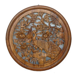 Golden Lotus - Chinese Wood Carved Round Peacock Wall Decor - This is a nicely carved oriental round shape wood wall decor. The peacock is the center theme and is surrounded by flower, tree and other birds.