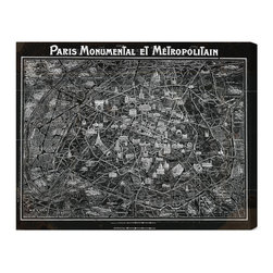 "The Oliver Gal Artist Co. - 'Paris Metropolitain Map 1920'  Fine Art Canvas 36"" x 45"" - Francophiles will adore this vintage view of the iconic city. This hand-stretched canvas is wrapped around sustainable wood and highlights many of the historic landmarks that make the City of Light so special. Find the perfect spot in your home to showcase this bold black and white labyrinth."