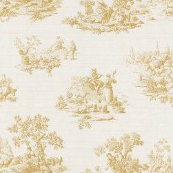 Brewster - Brewster Cream Vintage Toile Wallpaper - A spirited romance accompanied by inviting farm animals etched on a soothing cr�me make this country toile a warming wallpaper design. This wallpaper highlights a solid sheet vinyl construction that adds depth and character.