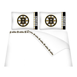 Sports Coverage - Sports Coverage NHL Boston Bruins Microfiber Hem Sheet Set - Queen - NHL Boston Bruins Microfiber Hem Sheet Set have an ultrafine peach weave that is softer and more comfortable than cotton. Its brushed silk-like embrace provides good insulation and warmth, yet is breathable.   The 100% polyester microfiber is wrinkle-resistant, washes beautifully, and dries quickly with never any shrinkage. The pillowcase has a white on white print beneath the officially licensed team name and logo printed in vibrant team colors, complimenting the new printed hems.    Features: -  Weight of fabric - 92GSM ,  - Soothing texture and 11 pocket,  -  100% Polyester,  - Machine wash in cold water with light colors,  - Use gentle cycle and no bleach ,  - Tumble-dry,  - Do not iron ,