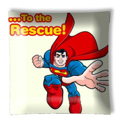 """Superman to the Rescue Retro Ceiling Light - 12"""" square semi flushmount ceiling lamp with designer finish. Includes complete installation instructions and complete light fixture. Wipes clean with a damp cloth. Uses 2-60 watt bulbs (not included) and is made with eco-friendly/non-toxic products. This is not a licensed product, but is made with fully licensed products."""