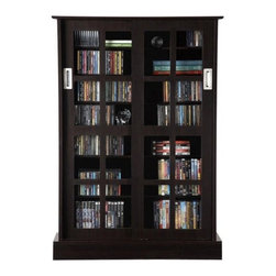 "Atlantic - Windowpane Multimedia Cabinet - Features: -Elegant and functional sliding glass design provides easy access to media.-Sophisticated cabinet for traditional living rooms or upscale decor.-Adjustable shelves.-Cut tempered glass windows present refined and finished look.-Holds up to 584 CDs or 196 DVDs or 216 Blu-rays.-Commercial Use: No.-Material: Wood composite / Steel / Glass.-Solid Wood Construction: No.-Number of Items Included: 1.-Weather Resistant or Weatherproof: No.-Scratch Resistant: No.-Heat Resistant: No.-Stain Resistant: No.-Drawers Included: No.-Exterior Shelves Included: No.-Cabinets Included: Yes -Number of Cabinets: 1.-Number of Interior Shelves: 6.-Adjustable Interior Shelving: Yes.-Number of Cabinets: 1.-Number of Interior Shelves: 6.-Adjustable Interior Shelving: Yes..-Hardware Finish: Brushed steel.-Distressed: No.-Collection: Windowpane.-Recycled Content: No.-Eco-Friendly: Yes.-Product Care: Wipe clean with a dry cloth.-Storage Capacity: 576 CDs / 192 DVDs / 216 Blu-Rays.-Wall Mountable: No.Specifications: -ISTA 3A Certified: Yes.Dimensions: -Overall Height - Top to Bottom: 49"".-Overall Width - Side to Side: 32"".-Overall Depth - Front to Back: 9.5"".-Cabinet: Yes.-Overall Product Weight: 66.4 lbs.-Shelving: Yes.Assembly: -Assembly Required: Yes.-Tools Needed: Screwdriver and hammer.-Additional Parts Required: No.Warranty: -Product Warranty: 1 Year limited."