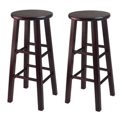 Winsome - 29 in.  Bar Stool with Square Legs - Set of 2 - 29 in. Bar Stool, Square Legs - Set of 2