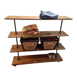 N/A - Industrial Rolling Shelfing Rack with 4 Shelves - This rolling storage rack is built from recycled iron piping and reclaimed wood. It will add a touch of class to a loft, office, rustic style home decor or an industrial space.