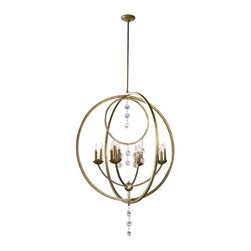 Cyan Design - Cyan Design Emilia Transitional 16-Light Chandelier X-81620 - Create a stunning focal point in your living space with this elegant chandelier. The Cyan Design Emilia Transitional chandelier displays dramatic swooping rings with cast glass deco style crystals. The hand-applied silver leaf finish provides elegance and glam to the chandelier.