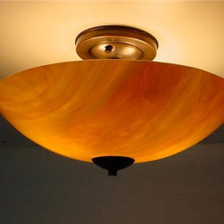 Soja, Beverly - Sunset Ceiling Mount - Flame-worked, fused, slumped and sandblasted glass creates the soft glow of Sunset.