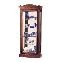 """Howard Miller - Embassy Beveled Glass Curio Cabinet - Display those antiquated culinary show pieces, grandma's china, chic and culinary collectibles in your superiorly constructed 4-Glass Shelf Curio w Capped Fluted Columns & Detailed Leaf Pediment, a defined by rich embassy cherry among other dynamic embellishments. * Features a pediment crowned with richly detailed leaves and a beautiful shell at its centerThe fluted columns offer column caps that are decoratively detailed to match the pedimentBeveled glass on the front nicely frames your collectibles. Finished in Embassy Cherry on select hardwoods and veneersHalogen lighting for brighter, whiter, longer-lasting light to illuminate your collectiblesAdjustable levelers under each corner provide stability on uneven and carpeted floorsCabinet is illuminated by an interior lightLocking door for added securityGlass shelves can be adjusted to any level within your cabinetNo-Reach light switch is conveniently located on the back of the cabinetPad-Lock cushioned metal shelf clips increase stability and safety84-3/4""""H x 36-3/4""""W x 14-1/2""""D"""