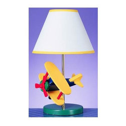 Cal Lighting - Kid's Colorful Airplane Lamp - Bright and colorful, this kid's lamp will bring young aviators in for a landing.  Bi-plane, single-prop design is reminiscent of the daredevils of yesteryear.  Solid base and plain shade with trim are durably constructed.  Whimsically decorative for desk or nightstand.  Complete with detail, this unique lamp will provide bedside light, while adding hours of fun and enjoyment to relaxation time. * Color: Blue/Yellow/Red. 60 Watt (bulb(s) not included). Height: 15 inAll of our lamps have been thoroughly inspected and meet the highest UL (Underwriting Laboratories safety standards.