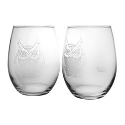 Rolf Glass - Owl Red Wine Tumbler 21oz, Set of 2 - In true Rolf Glass form, this collection offers a twist of fate: Find the single mouse hiding from the gaze of these cute feathery creatures. Throughout history, the Owl has been known to be a symbol of both good and evil. Which, if you think about it, is akin to alcohol. One or two glasses and you become wise, 3 or 4 glasses and bewilderment sets in. Add a touch of introspection to your tabletop before these delightful mysterious creatures fly away.  Made in USA.  Set of 2