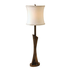 "Maitland-Smith - Maitland-Smith Dark Antique Nickel Table Lamp - From the artisans of Maitland-Smith this elegant brass table lamp is handcrafted and finished in dark antique nickel. A silk shade tops the piece perfectly. Dark antique nickel finish. Brass construction. Silk shade. Takes one 25 watt candelabra bulb (not included). In-line switch. 33"" high. Shade is 10"" wide 18"" high. Base to bottom of shade is 21 1/2"".  Dark antique nickel finish.   Brass construction.   Silk shade.   Takes one 25 watt candelabra bulb (not included).   In-line switch.   33"" high.   Shade is 10"" wide 18"" high.   Base to bottom of shade is 21 1/2""."