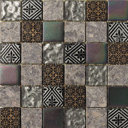 Hand Color Stone And Glass Tile Square Mosaic Backsplash, Box - Sold by the box 11 sheets