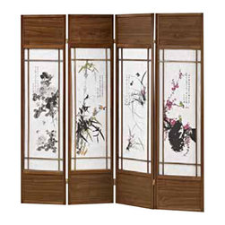 "ADAD5453 - 4 Panel Walnut Finish Wood Room Divider Shoji Screen with Floral Japanese - 4 panel walnut finish wood room divider shoji screen with floral Japanese paintings in the centers. Made with a walnut finish wood frame and faux rice paper paintings in the centers. Measures 68"" W x 71"" H."