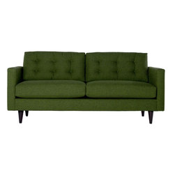 Apt2B - The Logan Sofa, Green Apple - Add a bit of vintage glamour to your space with the Logan. Sleek wood legs and button tufted back cushions take this modern shape to an elevated level. The ultimate show piece for your stylish room. Each piece is expertly handmade to order in the USA and takes around 2-3 weeks in production. Features a solid hardwood frame and upholstered in a textured poly-blend fabric.