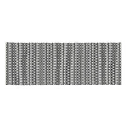 Gable Indoor-Outdoor 2.5'x7' Runner - Rick-rack, circles and diamonds lay down graphic stripes in a handwoven weave of black and white polypropylene. Perfect for the patio or high-traffic indoor areas.