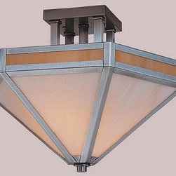 Arroyo Craftsman - Etoile Small Pewter Semi-Flush - -Gold and White Opalescent Glass  - Canopy Dimensions: 4 1/4 sq.  -Handcrafted in America by American artisans   - Made in the USA Arroyo Craftsman - ETCM-14-GWC-P