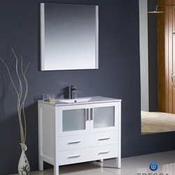 "Fresca - Fresca Torino 36"" Modern Bathroom Vanity w/ Integrated Sink - White - Fresca is pleased to usher in a new age of customization with the introduction of its Torino line. The frosted glass panels of the doors balance out the sleek and modern lines of Torino, allowing it to fit perfectly in both 'Town' and 'Country' décor.The Fresco Torino bathroom vanity is 35.75"" wide and 33.75"" high, and boasts 18.13"" deep under-sink storage space – perfect for towels and other bathroom necessities. This bathroom vanity is completed with a 20.75"" wide x 31.5"" high x 1.25"" deep wall mounted mirror for optimal function and style.Items included: Main Vanity Cabinet(s), Countertop(s), Vessel/Integrated Sink(s), Mirror(s), Faucet(s), P-Trap and Pop-Up Drain(s), Standard hardware needed for installation.DecorPlanet is proud to offer Fresca Bathroom products. Fresca is a leading manufacturer of high-quality vanities, accessories, toilets, faucets, and everything else to give you the freshest bathroom in the neighborhood. Fresca is known for carrying the latest and most popular styles in modern and contemporary bathroom design that are made with high quality materials and superior workmanship."