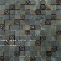 GL STONE LTD - Random Frosted Glass and Brown Stone Mosaic Tile - This mosaic tile contains stone and glass material, which is the great design for the interior decor. Each glass chip are hand pressed and then filled with colored crushed glass chips to create an intensely faceted surface that capture and reflects light, making it look like thousand tiny diamonds. Great to use as a backsplash; as well as any decorated spot in your home. Frosted finished glass mix brown stone create an unique mosaic tile. Each piece fits into the next like a perfect puzzle. This mosaic tile will bring warmth and a natural ambiance to your home. It also looks great in large spaces or smaller areas like a kitchen backsplash, bathroom wall, etc.