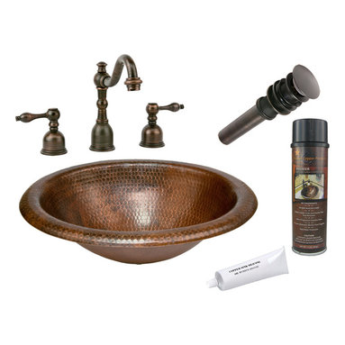 Premier Copper Products - Wide Rim Oval Self Rimming Sink w/ ORB Faucet - PACKAGE INCLUDES: