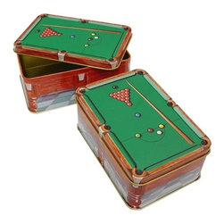 Sterling Gaming - Decorative Metal Chalk Tin w Snooker Table De - Metal chalk holders. Each container holds 24 pieces of chalk. Weight: 0.5 lbs.