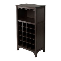 "Winsome - Ancona Modular Wine Cabinet with Glass Hanger - Ancona Modular Wine Cabinet with Glass Hanger; 20 Bottle Capacity; Dark Espresso Finish; Country of Origin: Thailand; Dimensions: 19.09""W x 12.60""D x 37.52""H"