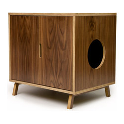 Modernist Cat - Modernist Cat Standard Cabinet , Walnut Doors, Right Side Circle Pet Entrance - Standard Cabinet