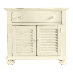 Product Photos - Summer is the brilliant warmth longed for in the gray days of winter. This versatile Summerhouse Chest from Coastal Living's Cottage collection makes sure summer is with you all year. Chest has the ease and joyous feel of the perfect summer's day and you will certainly revel in its usefulness. Whether it's for extra storage, an LCD TV stand or a nightstand you'll love the versatility. Top drawer and louvered double doors underneath with an adjustable shelf inside provide a good deal of storage space. Round wood knobs on doors and drawer display the smooth ridges you might find on seashells and driftwood. Molding around the top and bottom edge with bun feet on base. Choose from thirteen painted finishes. Is that summer calling? Go ahead, answer.