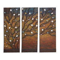 "Benzara - Metal Hand Painted Class Apart Abstract Wall Decoration - Set of 3 - Metal Hand Painted Decor S/3 is an excellent anytime low priced wall decor upgrade option that is high in modern age low budget home interior fashion. It is beautifully designed by the experienced artists.; Material: Rust free premium grade metal alloy; Color: Beautiful natural colors as shown in picture; Set of three; Class apart abstract wall decoration; Long lasting; Impresses everyone; Affordable gift; Dimensions: 39""H x 42""W"