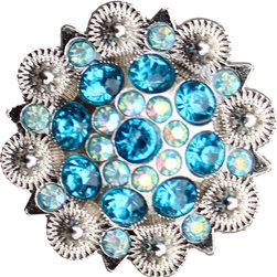 DaRosa Creations - Crystal Drawer Knob with Blue and Iridescence Crystals - Crystal Drawer Knob with Blue and Iridescence Crystals