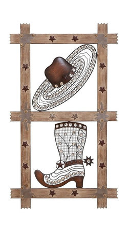 Benzara - Wall Decor Are Stylishly Sculpted From Wrought Metal - Easy to fix, put this wall decor in your living room, hall or passageway and add a rustic charm to your decor. The minute detailing done on the boot and hat add to the beauty of this wall decor. The wooden panel is embellished with metal stars that further accentuate the Wild West charm. Place it on your bare walls and bring them to life instantly. Perfect for your adding an earthy charm to your outdoors, this decorative piece looks equally great on your patio, porch or garden wall too. With its superlative western charm, this piece adds spunk and character to your decor. So if you want something that grabs attention, this is the' wall decor that you are looking out for! Deck up your walls in cowboy style with this amazing wall decor made from wood and metal. The quintessential cowboy hat and boots are stylishly sculpted from wrought metal.