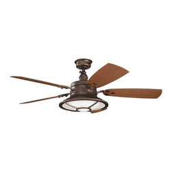 """DECORATIVE FANS - DECORATIVE FANS Harbour  Walk Patio 52""""  Transitional Indoor/Outdoor Ceiling Fan - From the Harbour Walk Collection, this Kichler Lighting outdoor ceiling fan blends warm finishes for a masculine look. The Weathered Copper Powder Coat finish compliments the reversible dark and light walnut fan blades while still coordinating with the Fresnel lens glass diffuser."""