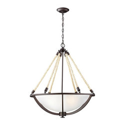 ELK Lighting - ELK Lighting Natural Rope 63014-4 Pendant - 26W in. - Aged Bronze - 63014-4 - Shop for Pendants from Hayneedle.com! Let the rough and rustic charm of the ELK Lighting Natural Rope 63014-4 Pendant in Aged Bronze add style and character to your home. This nautically inspired pendant light features a series of natural rope hangers that hook into a central base. A metal frame encases a frosted glass dome shade that offers ample illumination via four 60-watt bulbs (not included). All metal hardware is adorned in a rich aged bronze finish for a look that works well with a variety of decor styles.About E.L.K. LightingIn 1983 Adolf Ebenstein Jonathan Lesko and Russell King combined their lighting expertise to form E.L.K. Lighting Inc. From the company's beginning in eastern Pennsylvania it has become a worldwide leader featuring manufacturing facilities and showrooms in the U.S. and abroad. Award-winning designs and state-of-the-art engineering give their lighting and home decor items outstanding quality and value and has made E.L.K. the choice of such renowned places as the Historic Royal Palaces of England and George Vanderbilt's Biltmore Estates. Whether a unique custom design or one of their designer lines all products are supported by highly trained technical and customer service teams. A commitment to providing superior lighting and home products with unmatched customer satisfaction remains at the heart of the E.L.K. family tradition.Please note this product does not ship to Pennsylvania.