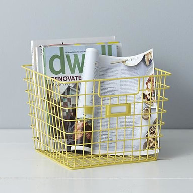 Yellow Wire Bin - Crafted of sturdy steel wire with a durable yellow powdercoat finish, this tapered open storage bin holds and organizes household items with convenient carrying handles and ID label holder.