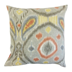 """The Pillow Collection - Janvier Ikat Pillow, Mineral 18"""" x 18"""" - Bold and eccentric, this throw pillow is a must-have for your interiors."""