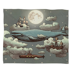 DENY Designs - Terry Fan Ocean Meets Sky Fleece Throw Blanket - This DENY fleece throw blanket may be the softest blanket ever! And we're not being overly dramatic here. In addition to being incredibly snuggly with it's plush fleece material, it's maching washable with no image fading. Plus, it comes in three different sizes: 80x60 (big enough for two), 60x50 (the fan favorite) and the 40x30. With all of these great features, we've found the perfect fleece blanket and an original gift! Full color front with white back. Custom printed in the USA for every order.