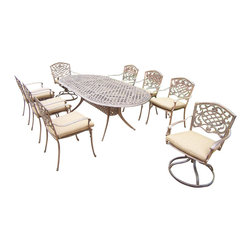Oakland Living - 9-Pc Outdoor Oval Dining Set - Includes one dining table, two swivel rockers with cushions, six stackable chairs with cushions and metal hardware. Fade, chip and crack resistant. Traditional lattice pattern and scroll work. Handcasted. Umbrella hole table top. Hardened powder coat. Warranty: One year limited. Made from rust free cast aluminum. Antique bronze finish. Minimal assembly required. Chair: 23 in. W x 22 in. D x 35.5 in. H (25 lbs.). Rocker: 23 in. W x 17.5 in. D x 38 in. H (33 lbs.). Table: 84 in. L x 42 in. W x 29 in. H (99 lbs.). Overall weight: 306 lbs.This dining set is the prefect piece for any outdoor dinner setting. Just the right size for any backyard or patio. We recommend that the products be covered to protect them when not in use. To preserve the beauty and finish of the metal products, we recommend applying an epoxy clear coat once a year. However, because of the nature of iron it will eventually rust when exposed to the elements. The Oakland Mississippi Collection combines southern style and modern designs giving you a rich addition to any outdoor setting.