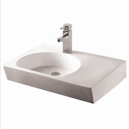 Whitehaus - Whitehaus Whkn1127 Isabella Rectangle Bathroom Sink - Isabella rectangular wall mount basin with integrated reversed u-shaped Kitchen Sink, single faucet hole and center drain