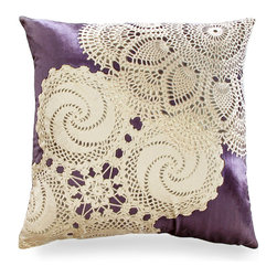 Caravan on Violet Pillow - Lace doily patterning on luxe violet silk makes this accent an eye catching conversation starter. Perfect for a guest bedroom, the Caravan on Violet Pillow combines soft silk and bold pattering in a pleasing palette. Each Aviva Stanoff piece is specially crafted for you upon ordering and takes 8-10 weeks but is absolutely worth the wait.