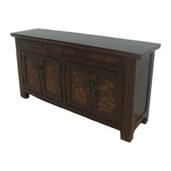 Lotus Flower Sideboard - The four door panels of this lovely sideboard are adorned with the painting of waving lotus flowers and pads, and flying dragonflies. It displays the Chinese artisan's excellent painting skills. In dark chocolate color with aged gilded painting.