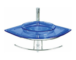 Renovators Supply - Corner Sinks Blue Glass/Stainless, Blue Europa Wall Mount Glass Vessel - Renovator's Supply Corner Sinks. Glass Sinks: The Blue Europa Wall Mount Corner Glass Vessel Sink Package includes faucet, pop-up drain, and p-trap. See site for product specifications.