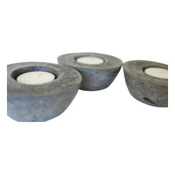 Anson Design CO - Set of 3 Concrete Candleholders - Organic Home Decor, Charcoal - This romantic trio of candles holders are sure to help you relax and unwind. Place in the bedroom or bath to create ambiance or use as an attractive centerpiece.
