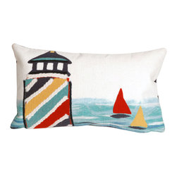 "Trans-Ocean Inc - Lighthouse Multi 12"" x 20"" Indoor Outdoor Pillow - The highly detailed painterly effect is achieved by Liora Mannes patented Lamontage process which combines hand crafted art with cutting edge technology. These pillows are made with 100% polyester microfiber for an extra soft hand, and a 100% Polyester Insert. Liora Manne's pillows are suitable for Indoors or Outdoors, are antimicrobial, have a removable cover with a zipper closure for easy-care, and are handwashable.; Material: 100% Polyester; Primary Color: White;  Secondary Colors: blue, navy, red, yellow; Pattern: Lighthouse; Dimensions: 20 inches length x 12 inches width; Construction: Hand Made; Care Instructions: Hand wash with mild detergent. Air dry flat. Do not use a hard bristle brush."