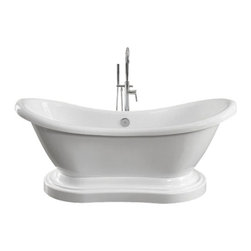 """The Tub connection - 68"""" Acrylic Double Ended Slipper Pedestal Tub, 7"""" Holes - One of the most romantic and relaxing acrylic tubs available on the market today, the Pedestal Harrison is a full 68 inch, double ended clawfoot slipper tub that pleases all who experience its romantic comforts, all while enhancing the decor and beauty of any bathroom design"""