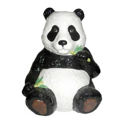 Westland - 10 Inch Happy Panda Bear Smiling and Eating Bamboo Cookie Jar - This gorgeous 10 Inch Happy Panda Bear Smiling and Eating Bamboo Cookie Jar has the finest details and highest quality you will find anywhere! 10 Inch Happy Panda Bear Smiling and Eating Bamboo Cookie Jar is truly remarkable.