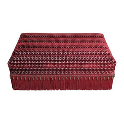 Used Kenneth Alpert Custom Red Velvet Storage Ottoman - A red velvet storage ottoman, custom designed by acclaimed interior designer, Kenneth Alpert. The ottoman was never used. It is in mint, pristine condition. The red is a deep ruby color and the top lifts off to provide deep storage.