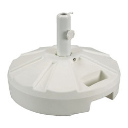 "Patio Living Concepts - Patio Living Concepts Umbrella Base Stands 00261 Umbrella Stand in White - 00261 Umbrella Stand in White belongs to Umbrella Base Stands Collection by Patio Living Concepts Molded resin umbrella stand with stainless steel hardware. For use with freestanding umbrellas up to a 1 - 5/8"" diam. pole. Easy fill spout and cap to secure up to 50 lbs. of sand filler for weight. Umbrella Stand (1)"