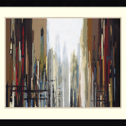 Amanti Art - Urban Abstract No. 159 Framed Print by Gregory Lang - Reminiscent of a rainy day, this abstract city scene brings a chic sophistication to your home office. Almost like you're looking out a cafe window onto the urban landscape, you can feel the stillness of separation here  — but there's still that buzz of city life humming underneath the apparent silence.